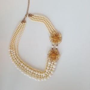 Cream and White Beaded Flower Necklace